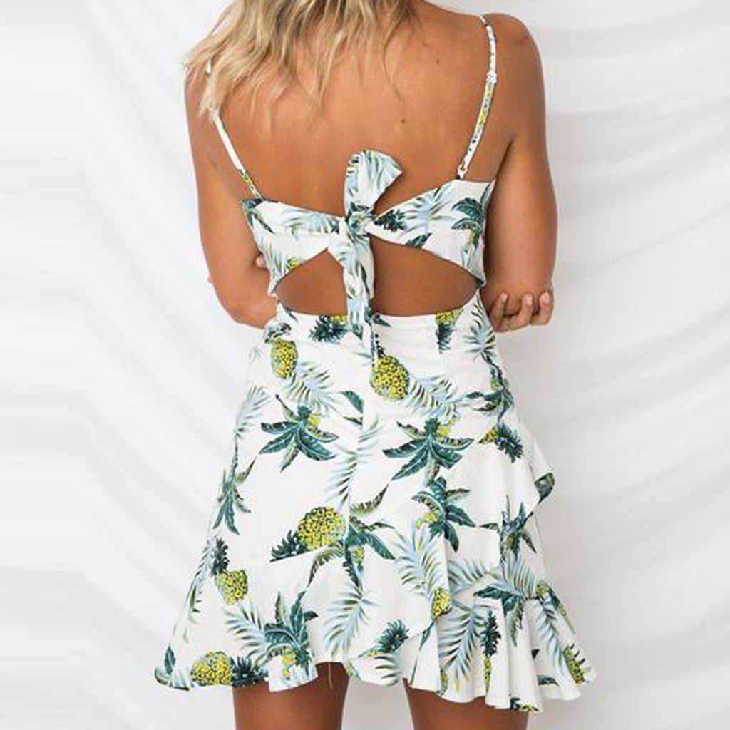 2019 ropa mujer ใหม่ Robe femme เซ็กซี่ผลไม้พิมพ์ชุดสลิงขนาดเล็ก Mini vestidos de fiesta de noche