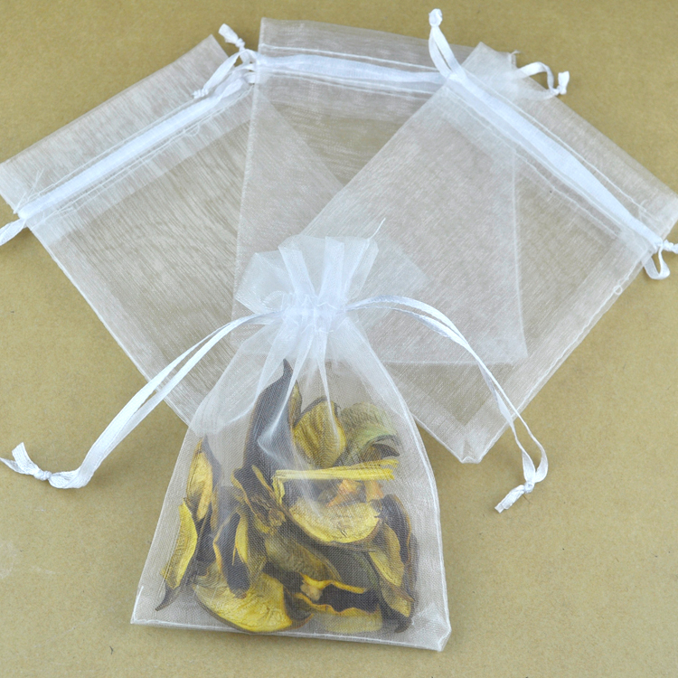 Whole 100pcs Lot 11x16cm White Organza Bags Wedding Favor Jewelry Candy Packaging Drawstring Gift Bag Pouches In Wring