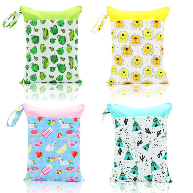 HappyFlute 2017 New Wet Bag Washable Reusable Cloth diaper Nappies Bags Waterproof Swim Sport Travel Carry bag Big Size 28*36CM