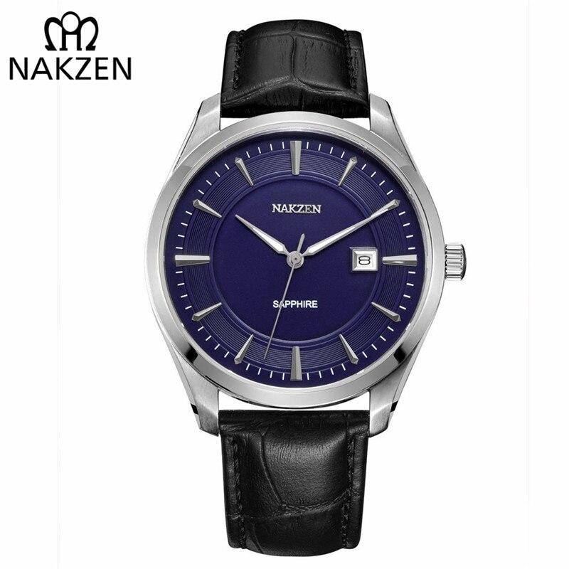 NAKZEN Fashion Quartz Watches Men Luxury Brand Waterproof Leather Strap Men's Wrist Watch Relogio Masculino Male Clocks Man 2018