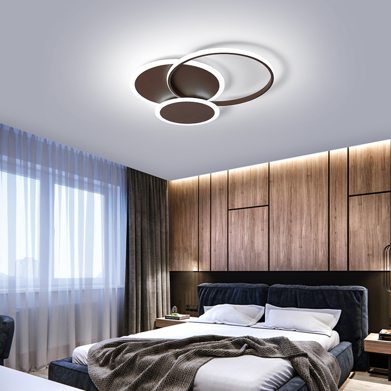 Round Circle White/Brown Modern led Chandelier Lighting for Sduty Living room Bedroom Lustre Avize Ceiling ChandeliersRound Circle White/Brown Modern led Chandelier Lighting for Sduty Living room Bedroom Lustre Avize Ceiling Chandeliers