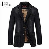 AFS JEEP Dark Blue Man S Casual Denim Blazer Slim Style Thick Cotton Slim Cargo Outwear