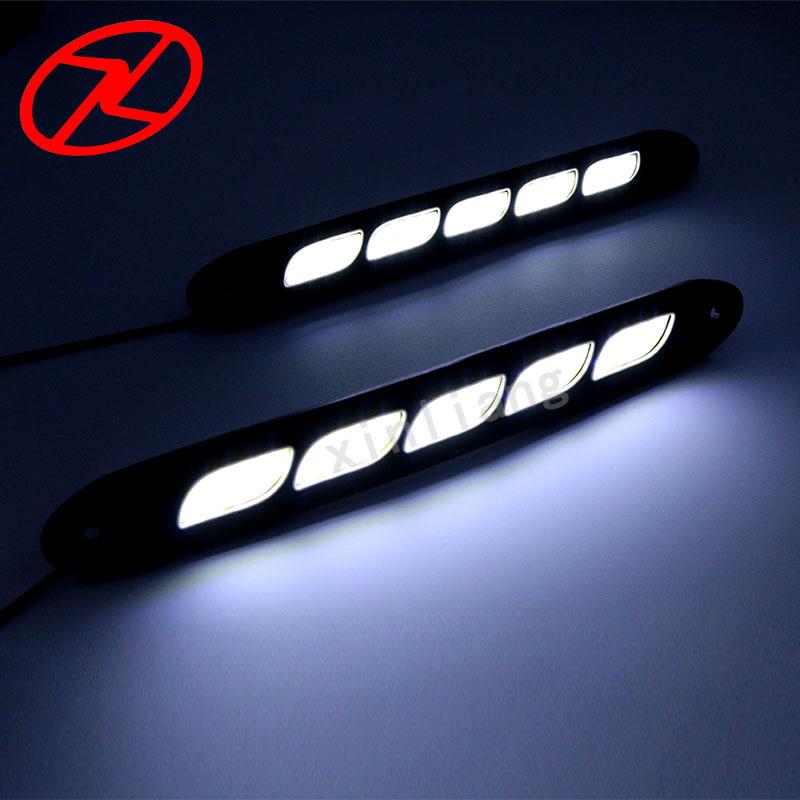 2PCS Saf Ağ LED Gündüz işləyən Yüngül Elastik DRL Suya - Avtomobil işıqları - Fotoqrafiya 4
