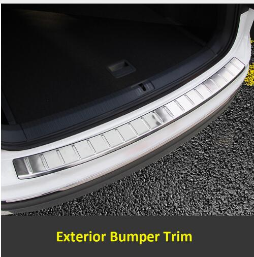fuwayda Rear Trunk Exterior Bumper Sill Plate Cover Trim Stainless Steel 1pcs For Volkswagen VW Tiguan 2017 stainless steel rear bumper protector plate sill trunk guard cover trim 2pcs accessories for volkswagen vw tiguan l 2017