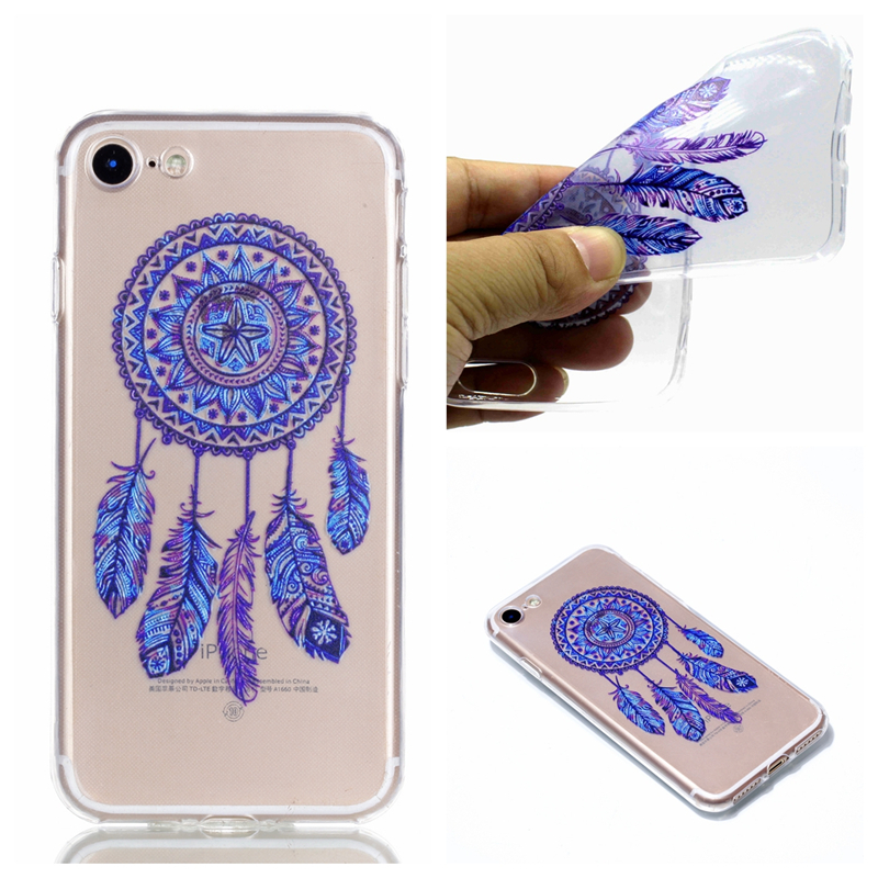 ProElite Cute Cat Horse Panda Animal Pattern Clear Cover for iPhone 8 Plus Smile Henna Flower Artistic Case for iPhone 7 Plus