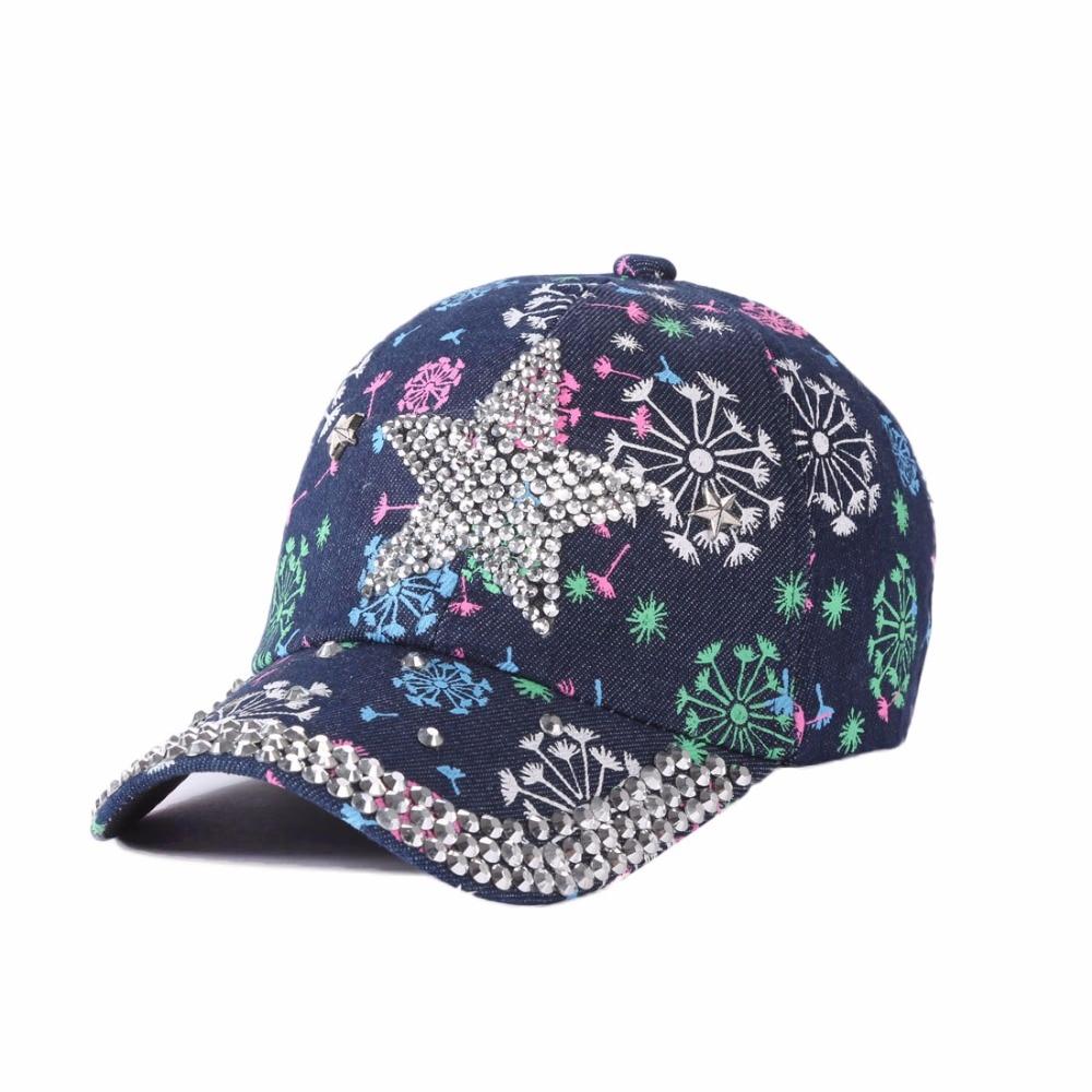 Sexy Summer 3D Baseball Cap Women Sun Hats Caps Crystal Decoration Gorras Casquette Floral Pre-design Hip Hop Snapback Colorful