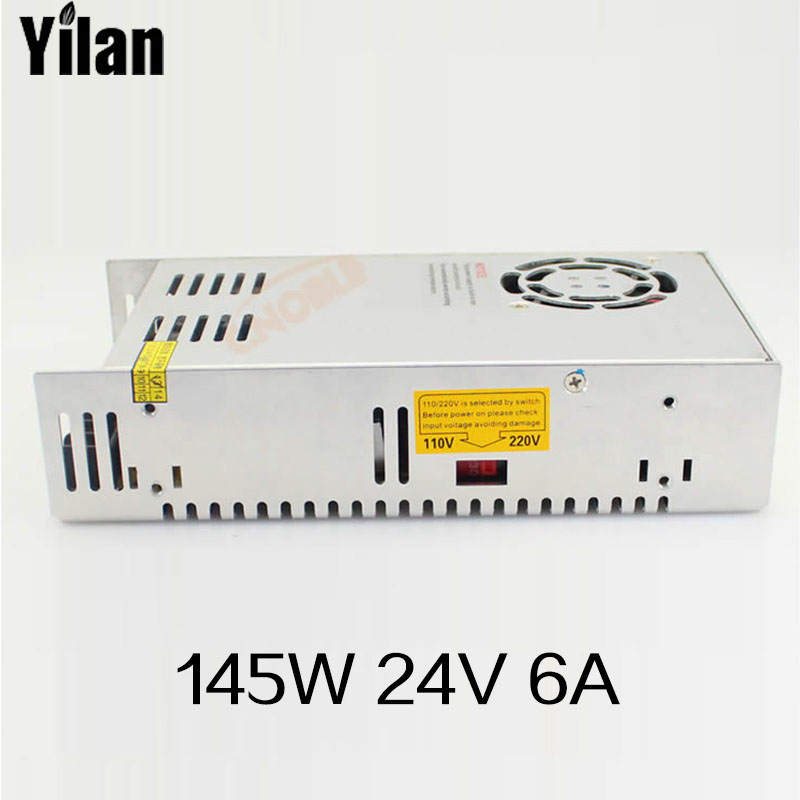 145W 24V 6A  Single Output Switching power supply for LED Strip light AC to DC free shipping 35w 24v 1 5a single output mini size switching power supply for led strip light ms 35 24