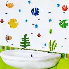Hot Sale Lovely Tropical Cartoon Fish Sea Bubble Ocean World Removable Wall Sticker Decal Washroom Baby Room Decoration(China)