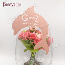 60pcs/set Wedding Table Decoration Paper Place Cards Laser Cut Cute Dolphin Wine Glass For Party