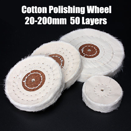 50-200mm White Cotton Lint Cloth Buffing Wheel Gold Silver Jewelry Mirror Polishing Wheel  4mm inner hole 50 Layers 750g piece white polishing wax paste for metal jewelry stainless steel polishing working with polishing buffing wheel