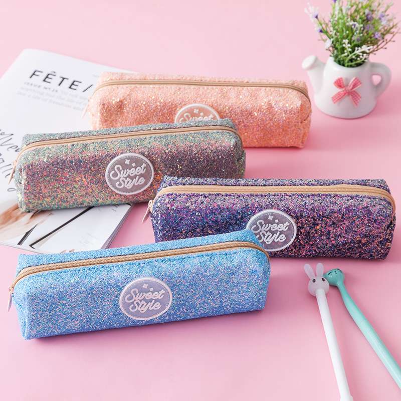 купить Creative Shiny Pencil Case PU Kawaii Pen Box Large PencilCase For Student Girl Gift Cute School Bags Stationery Supplies etui по цене 407.31 рублей