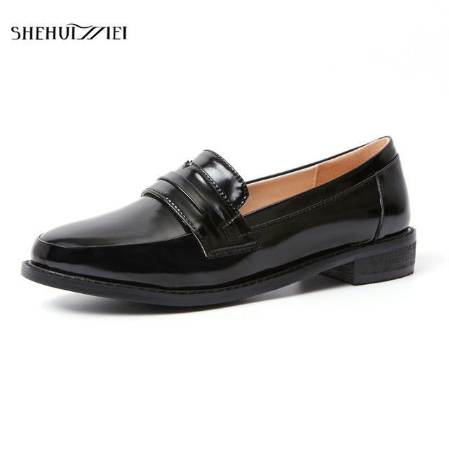 43db03dca4c SHEHUIMEI Penny Loafer Women Sheepskin Moccasin Genuine Leather Slip on  Round Toe Brogue Flats Casual Shoes Handmade Oxfords