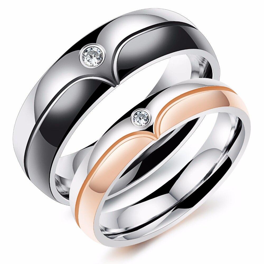 Мода микро декор циркон Titanium стальное кольцо покрытие цвета розового золота кольца пара Для мужчин и горе Для мужчин друзьям подарки
