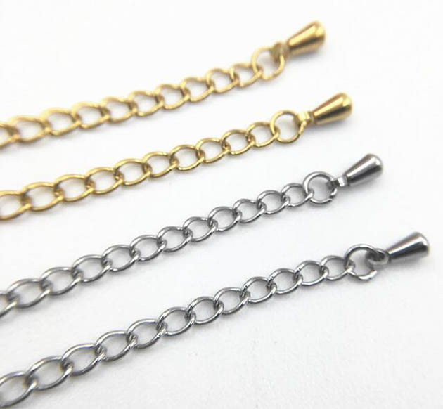 Extender Chain End Drops Stainless Steel Metal Extended Chain Findings Bracelets Necklaces DIY Jewelry Accessories