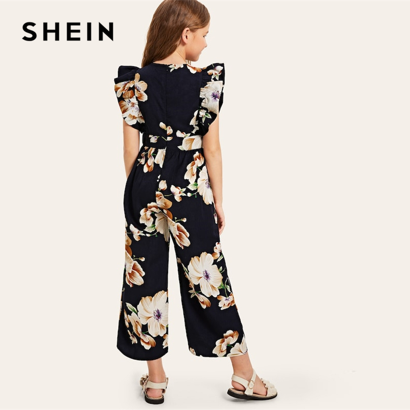 Image 2 - SHEIN Kiddie Floral Print Wide Leg Holiday Girls Jumpsuit 2019 Summer Cap Sleeve Ruffle Boho Beach Teenager Long Jumpsuits-in Overalls from Mother & Kids