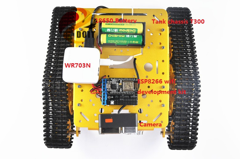 DOIT Wireless WiFi Video Transmission Smart Car by Android APP RC Tank T300 from NodeMCU Development Kit with L293D Motor Drive