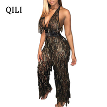 QILI Sexy Backless Women Jumpsuits Overall Sleeveless Deep V Neck Bandage Plaid Tassel Sequin Jumpsuit Wide Leg Club