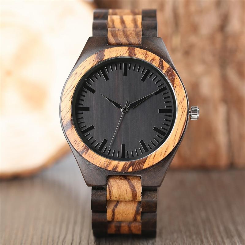 Hot Fashion Stripe Pattern Hand-made Wooden Men Watch Black Dial Bracelet Clasp Modern Nature Design Male Quartz Wristwatch Gift