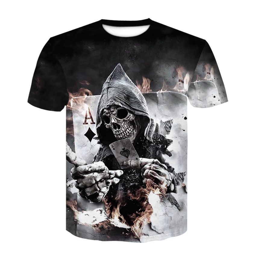 Skull Poker Print Men Short Sleeve T-shirt 3D T Shirt Casual Breathable T-shirt