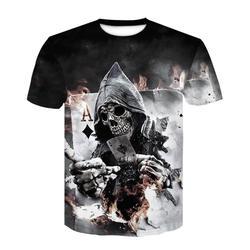 2018 Новая мужская летняя футболка с принтом черепа и покера, Мужская футболка с коротким рукавом, 3D футболка, Повседневная дышащая футболка