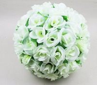 5pcs/Lot 25cm Cream White Rose with Leaves Kissing Ball Artificial Silk Flower For Wedding Party Holiday Venue Decoration