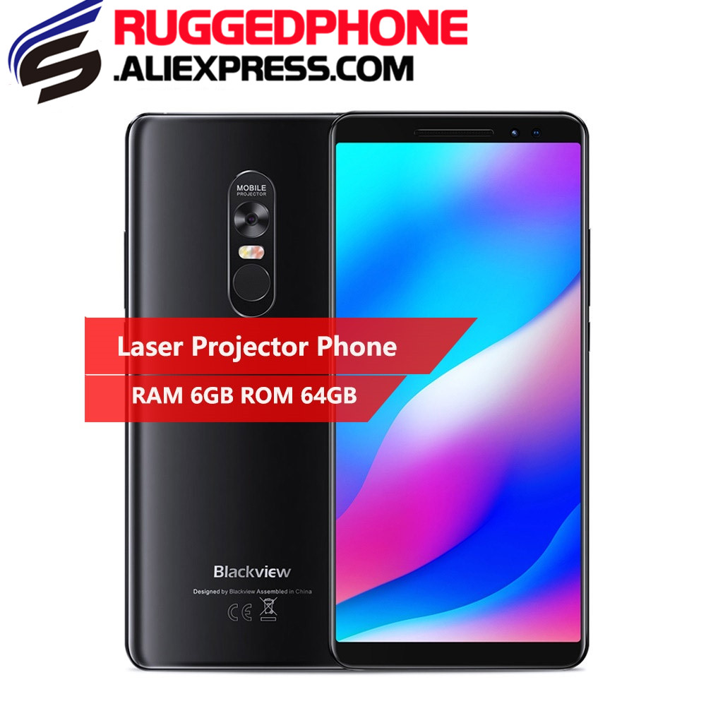 """Blackview Max 1 6.01 """"smartphone Nieuwe Laser Projector 6 Gb + 64 Gb Android 8.1 Draagbare Home Theater Film Tv Projector Mobiele Telefoon"""