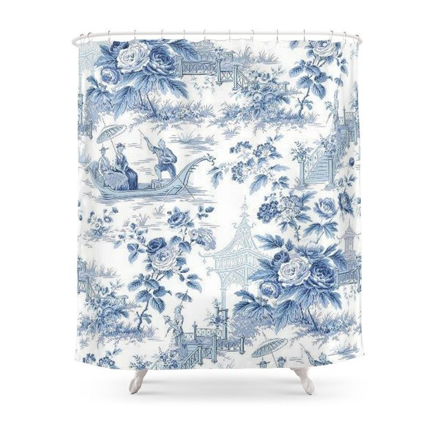 Powder Blue Chinoiserie Toile Shower Curtain Set With Hooks Doormat Bath Floor Mat Bathroom Home Decor