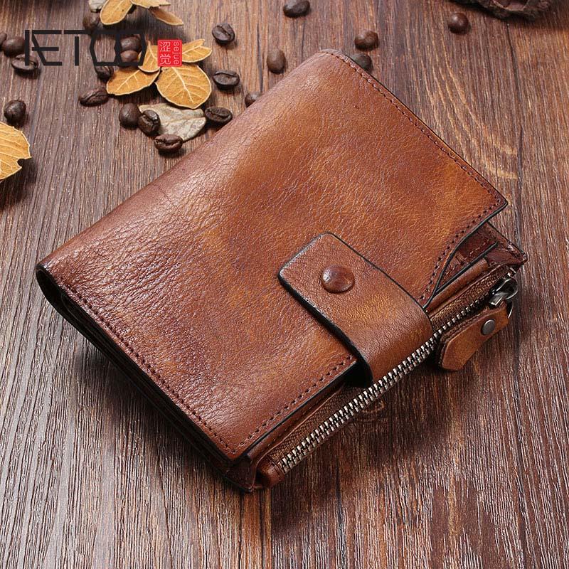 7e074d31606d Купить Aetoo оригинальный кожаный кошелек ручной работы мужской короткий  отрезок ретро первый слой из воловьей кожи для мужчин и женщин молодой кожи  ретро ...