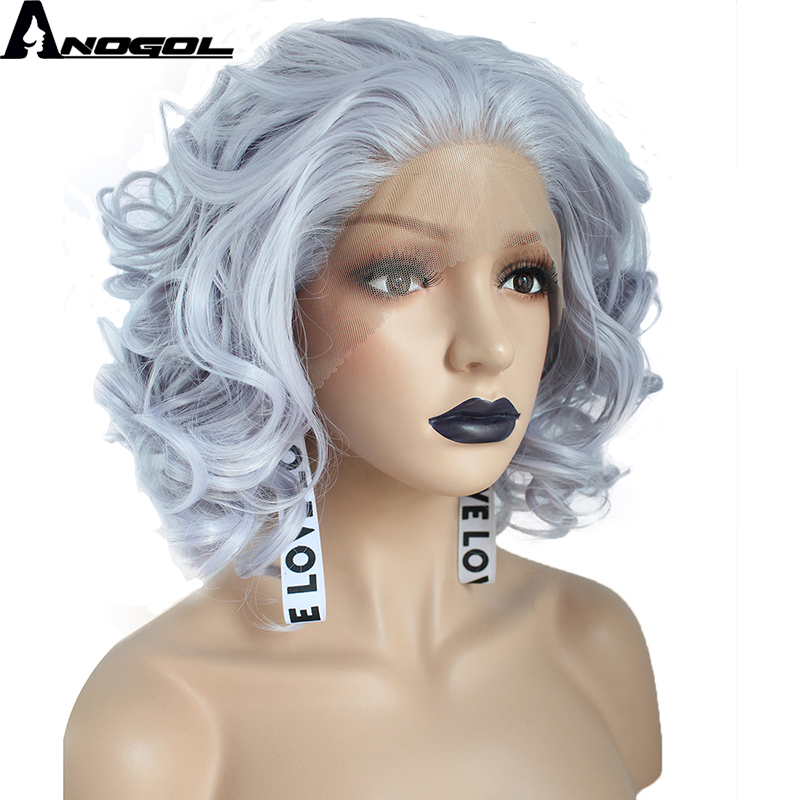 Anogol High Temperature Fiber Peruca Perruque Short Deep Wave Bob Purple Full Wigs Synthetic Lace Front Wig For Women Cosplay