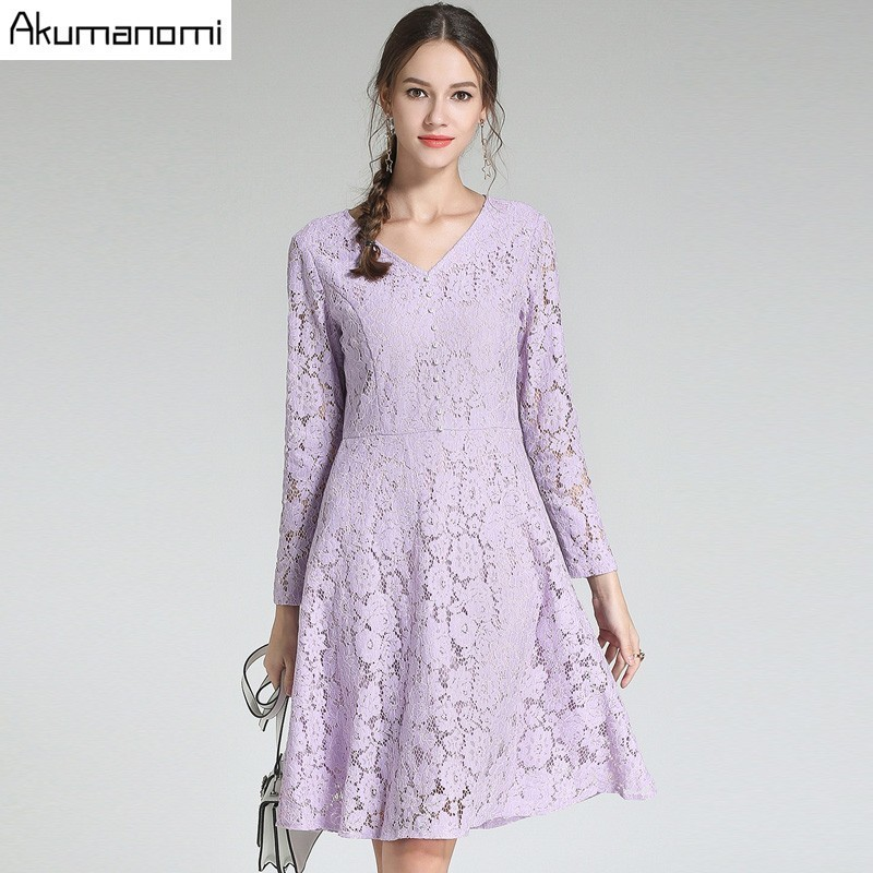 Autumn Lace Dress Women Clothing Lavender Button V neck Full Sleeve A line Office Lady Spring