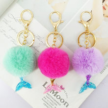 Pompom Artificial Rabbit Mermaid Fur Keychain Fluffy Rabbit Fur Ball Key Chain Rings Bag Charms With Chains Keyring Porte Clef(China)