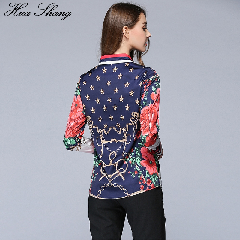 Spring Autumn Fashion Women Shirts Long Sleeve Floral Star Printed Chiffon Blouse Tops OL Lady Office Work Wear Casual Blusas