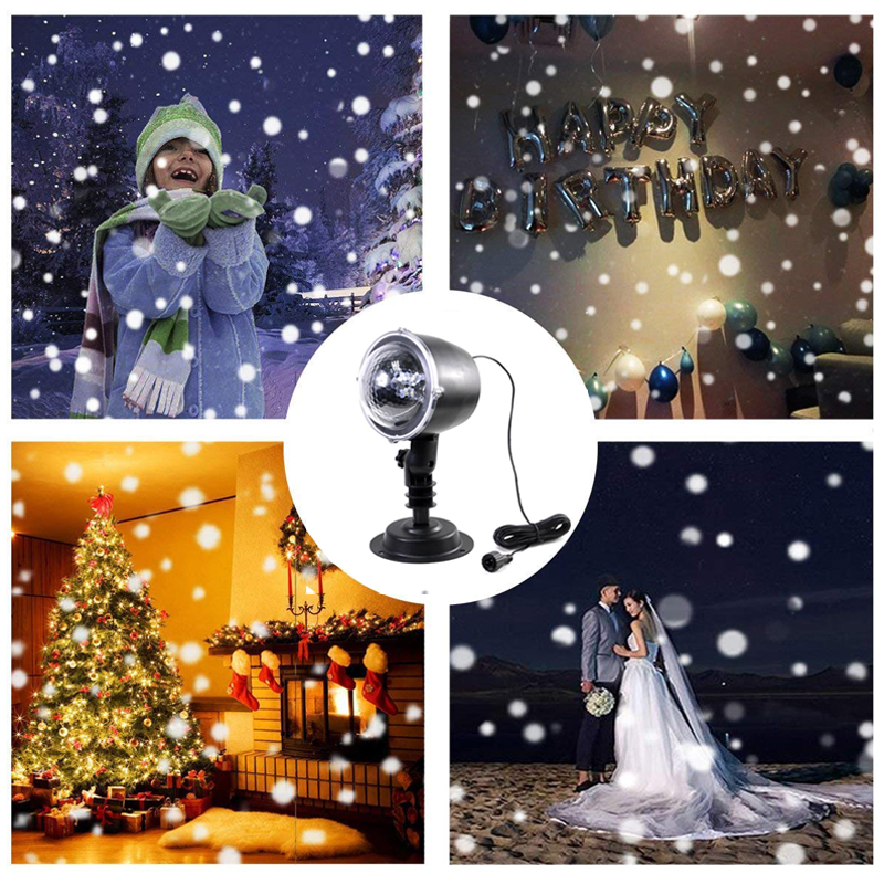 Snowfall Led Stage Lights Displays Projector Show Christmas Outdoor Indoor Rotating Snowflake Lamp Xmas Garden Landscape Decor (3)