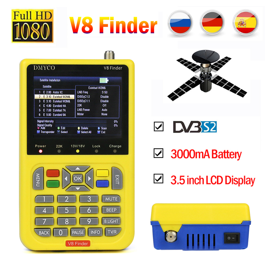 V8 Finder HD satfinder DVB-S2 Высокое разрешение сатфайндер MPEG-4 DVB S2 спутниковое метр полный 1080 P V8 Finder lnb прибор для настройки спутниковой антенны
