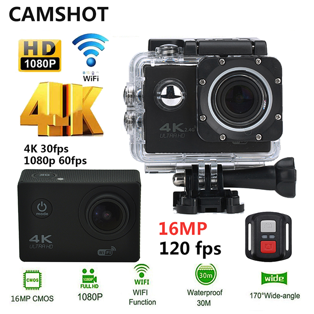 CAMSHOT Action Kamera 4 Karat 30PFS 16MP WIFI Ultra HD Unterwasser kamera 1080 P 60PFS 2 Zoll Wasserdichte 170D Helm fahrrad Sport Cam