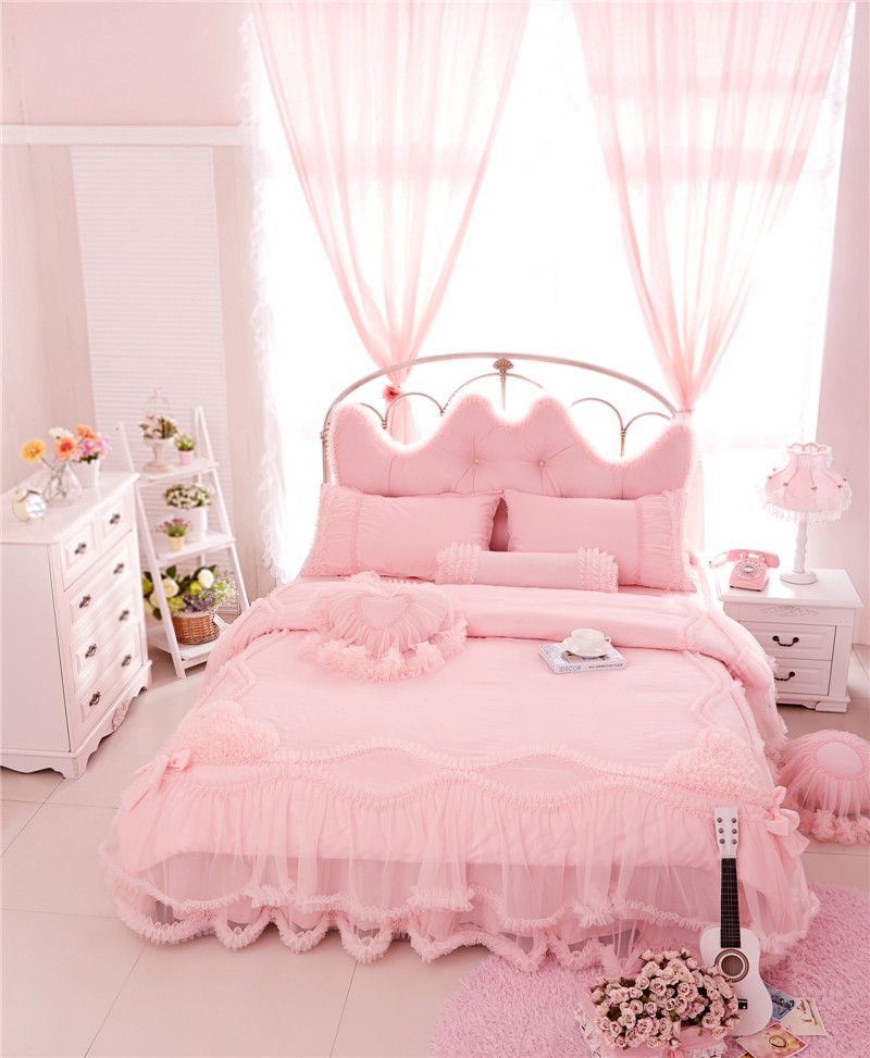 5 colors Cotton Stain+Lace Princess Luxury Bedding Set King Queen Twin size Girls Women Bed skirt set Duvet Cover Pillow shams 5 colors Cotton Stain+Lace Princess Luxury Bedding Set King Queen Twin size Girls Women Bed skirt set Duvet Cover Pillow shams