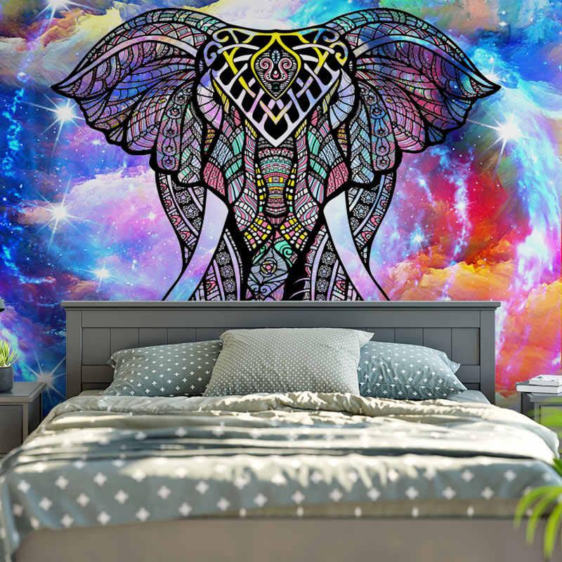 Big Mandala Hippie Tapestries Indian Beach Throw Wall Art Boho Bohemian Decor Wall Hanging Hippie Wall Hangings Black and White Art Deco 213x137 cm Elephant Tapestry