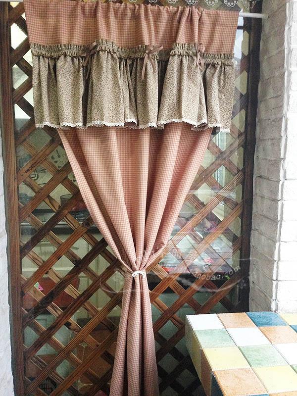 Livraison gratuite rouge-orange plaid arc volants rustique porte rideau cuisine rideaux pour salon chambre 90*180 cm personnalisé