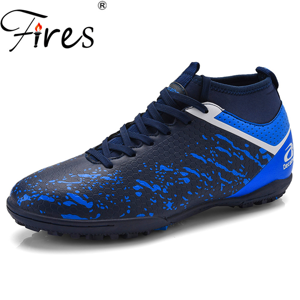 Fires Men's Soccer Shoes TF Futsal Hard Court Turf Football Boots Indoor Sock Cleats Trainer Cheap Botas Chuteira Futsal Shoes|Soccer Shoes| |  - title=