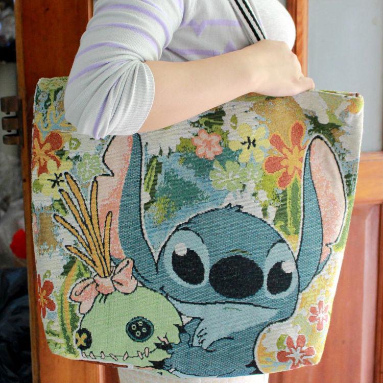 Hot Lilo&stitch Canvas Big Shoulder Bag Shopper Bag Anime Birthday Shopping Bags Unisex New