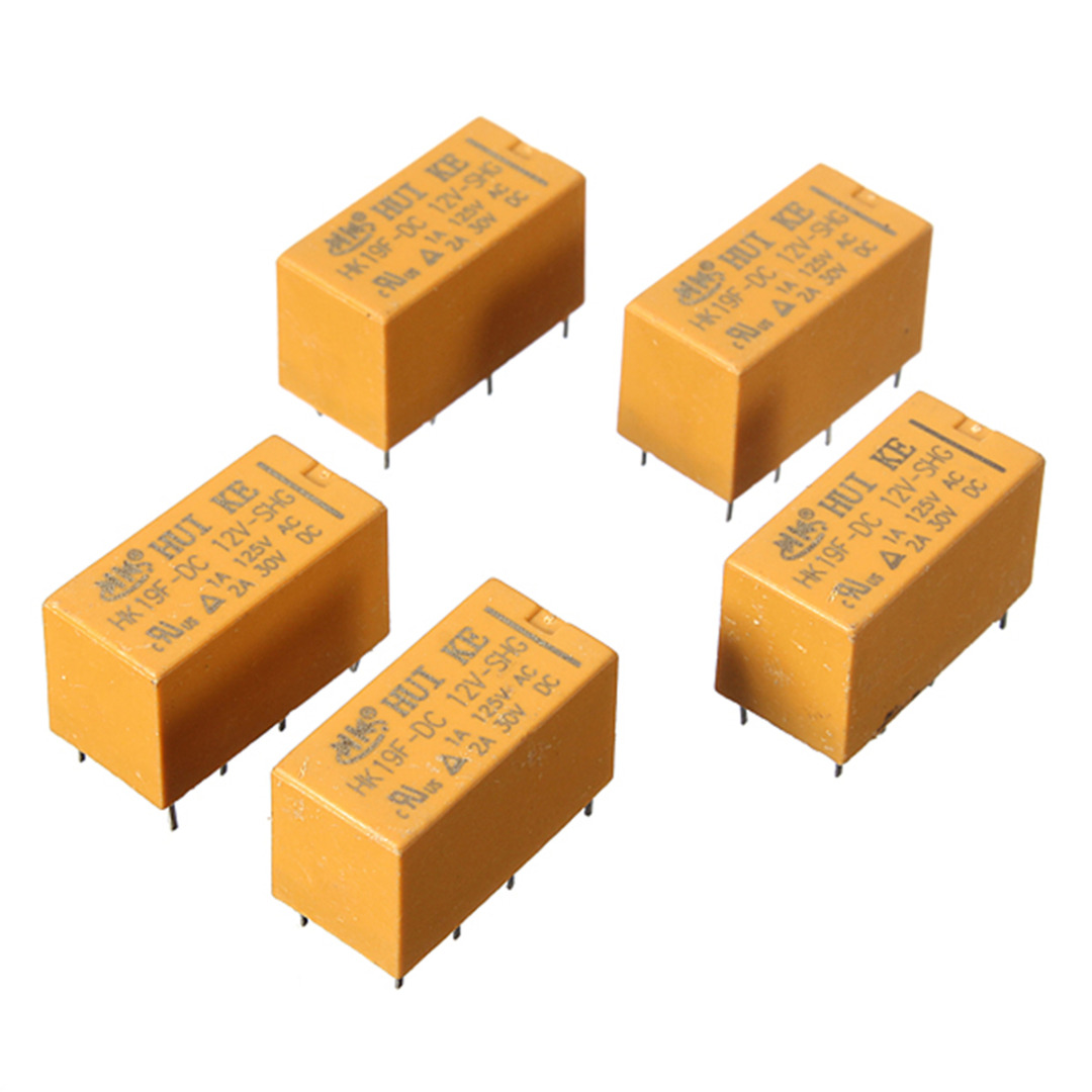 10pcs/lot DC 12V Mini Power Relay 8 Pin HK19F SHG Coil DPDT Power Relays Set PCB Type fused 4 dpdt 5a power relay interface module g2r 2 12v dc relay