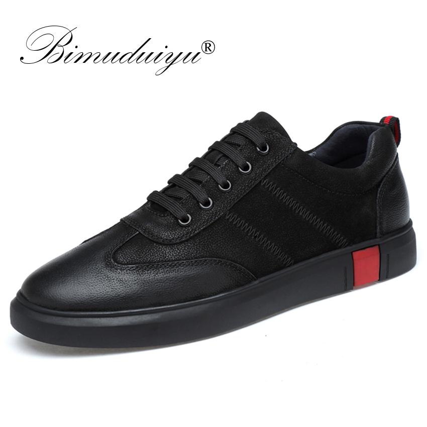 BIMUDUIYU New Men Casual Shoes Brand Quality Genuine Leather Shoes Lace up Moccasins Soft Breathable Flats