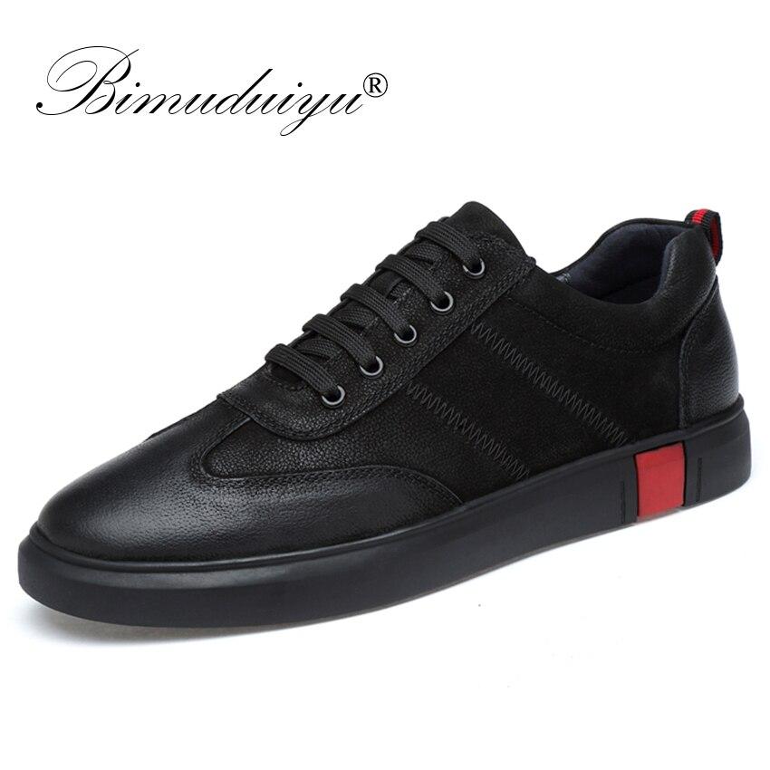 BIMUDUIYU Nouveau Hommes Casual Chaussures Marque Qualité Chaussures En Cuir Véritable Dentelle-up Mocassins Doux Respirant Appartements Chaussures Mode Sneaker