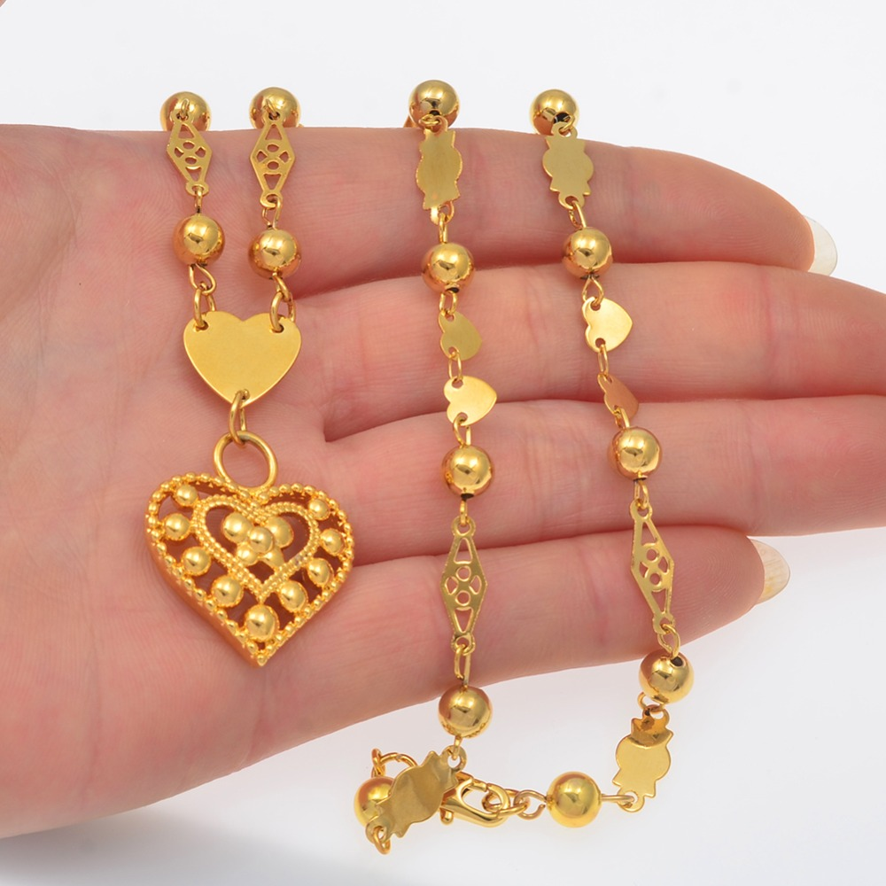 Anniyo Micronesia Heart Pendant Necklaces Ball Beads Chain for Women Girls Gold Color Guam Hawaii Marshall Jewelry #133906P