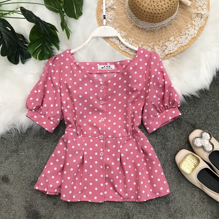 2019 Summer New Retro Wave Dot Print Slim Waist Thin Short Crop Tops Woman Single Breasted Casual Blouse Shirts G922