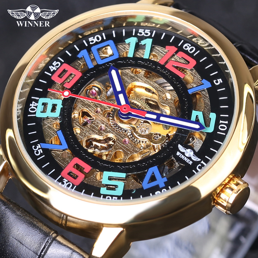 Winner Colourful Number Design Transparent Genuine Leather Belt Waterproof Skeleton Man Automatic Watches Top Brand Luxury ClcokWinner Colourful Number Design Transparent Genuine Leather Belt Waterproof Skeleton Man Automatic Watches Top Brand Luxury Clcok
