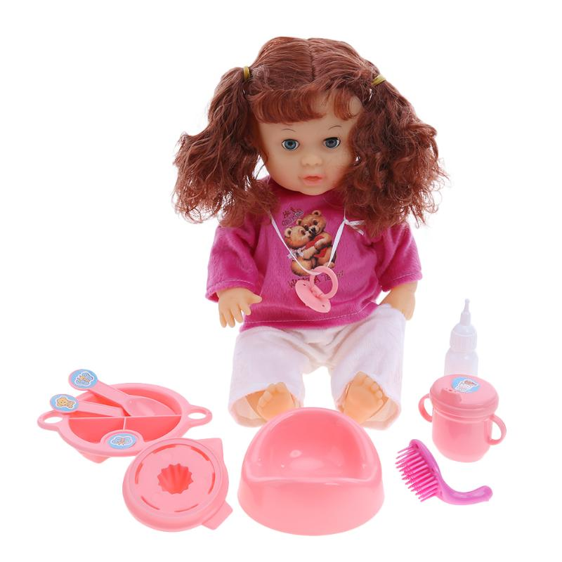 40cm Baby Born Doll Simulation Newborn Home Care Vinyl Dressing Clothes Baby Dolls with Doll Accessories Baby Toy Set simulation mini golf course display toy set with golf club ball flag