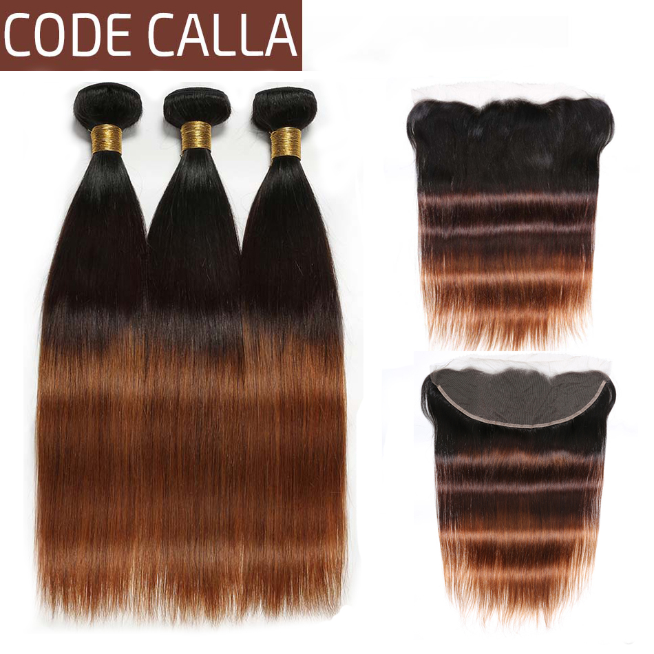 Code Calla Ombre Color Straight Hair Bundles With 13*4 Lace Frontal Unprocessed Brazilian Raw Virgin 100% Human Hair Free Part