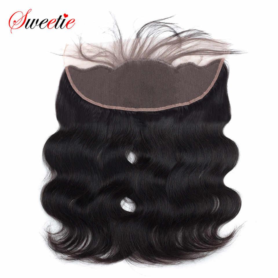 Pelo brasileño Remy Sweetie, onda de encaje Frontal, 13x4, cierre de pelo humano de pieza libre de oreja a oreja, Color Natural de 6 a 20 pulgadas