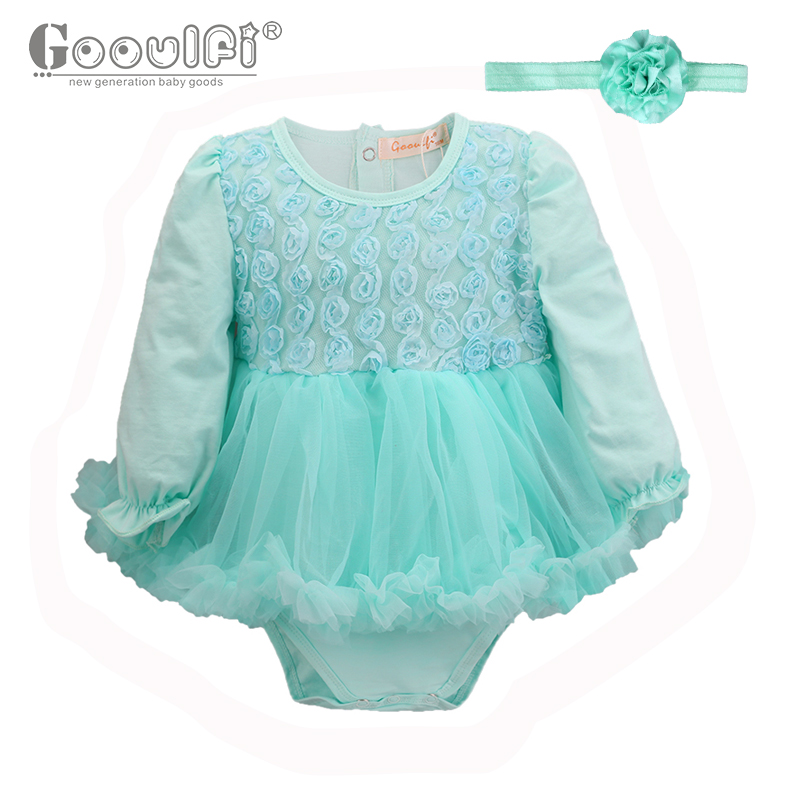Gooulfi Baby Girl Floral Romper Tutu Dress O-Neck 3-18 Monthes Cotton Lovely Light Color Long Sleeves Fall Baby Girl Clothes